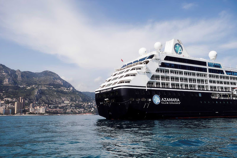 Azamara Quest moors off Monte Carlo. After a big, beautiful blue whale sailing, passengers hop off for fun on shore.