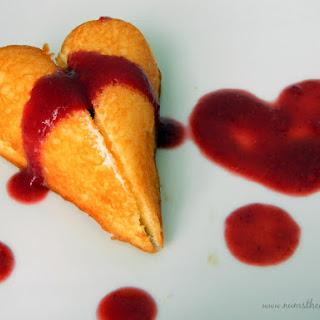 Twinkie Hearts with Raspberry Puree