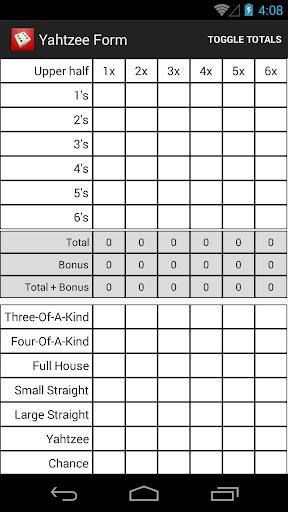 Yahtzee Score Form