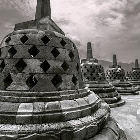 Borobudur Buddhist Temple by Ozge Kesim Yurtsever - Black & White Buildings & Architecture ( temple, yogyakarta, indonesia, buddhist, borobudur,  )