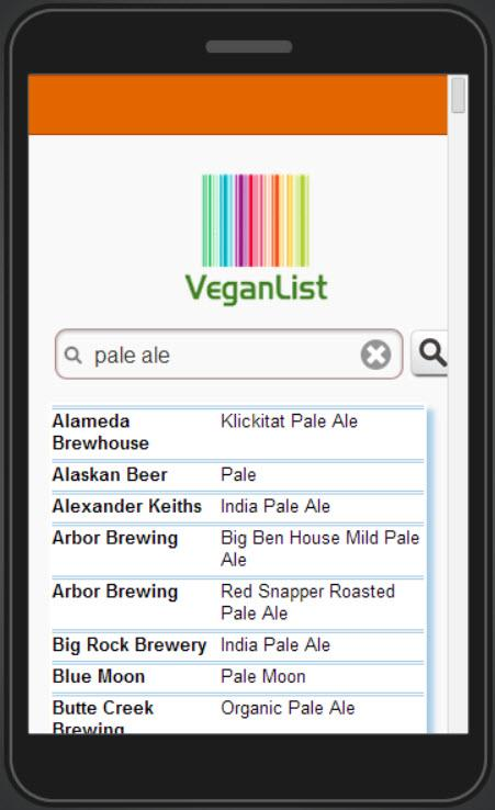 Vegan List- screenshot