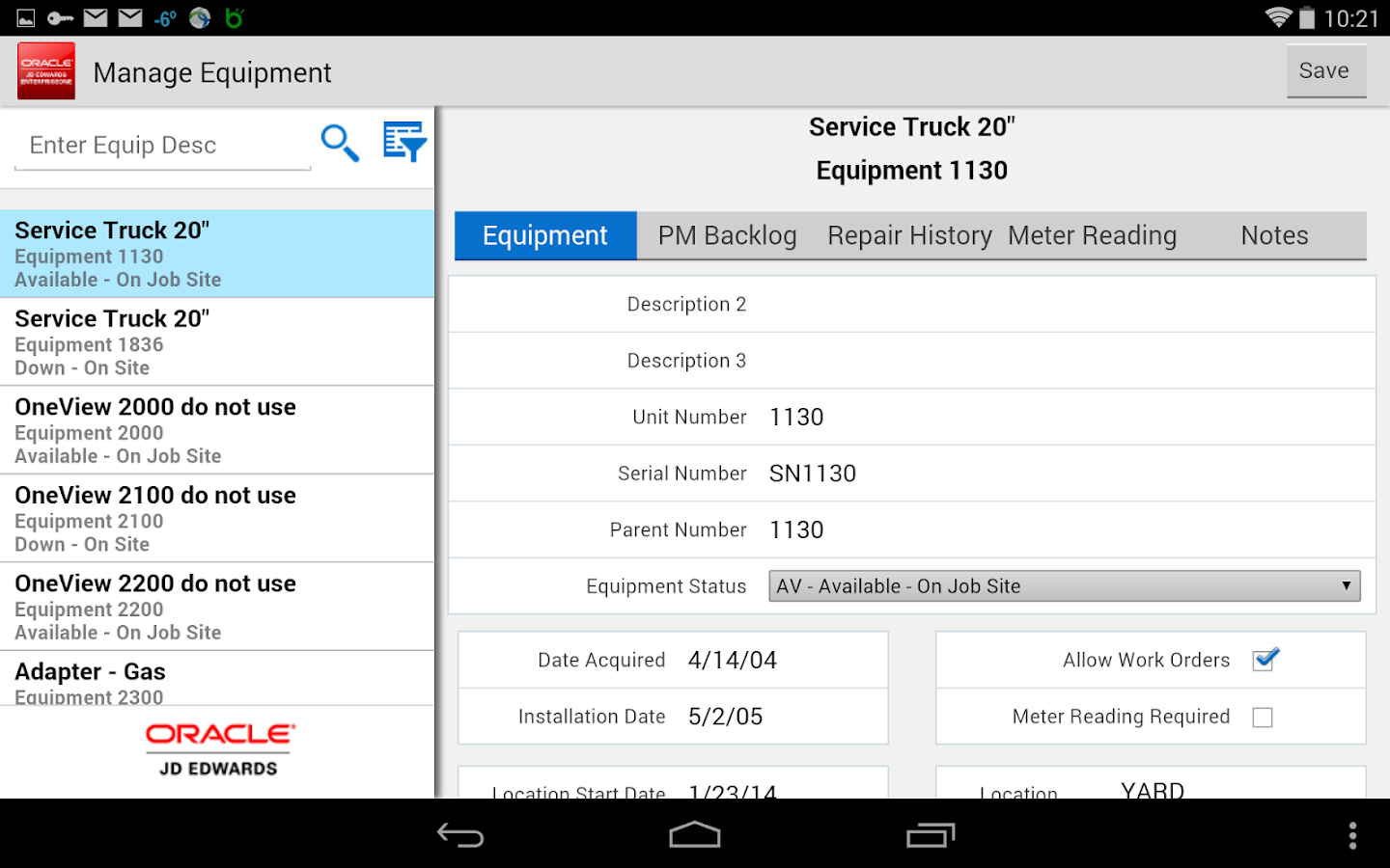 Manage Equipment - JDE E1- screenshot