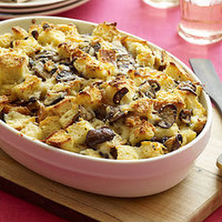 Cheesy Mushroom Bread Pudding