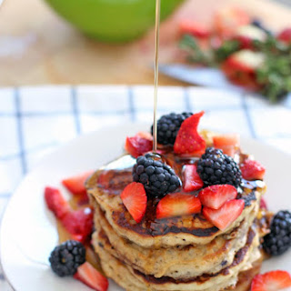 Fluffy Berry Oat Pancakes (made with 100% whole grains)
