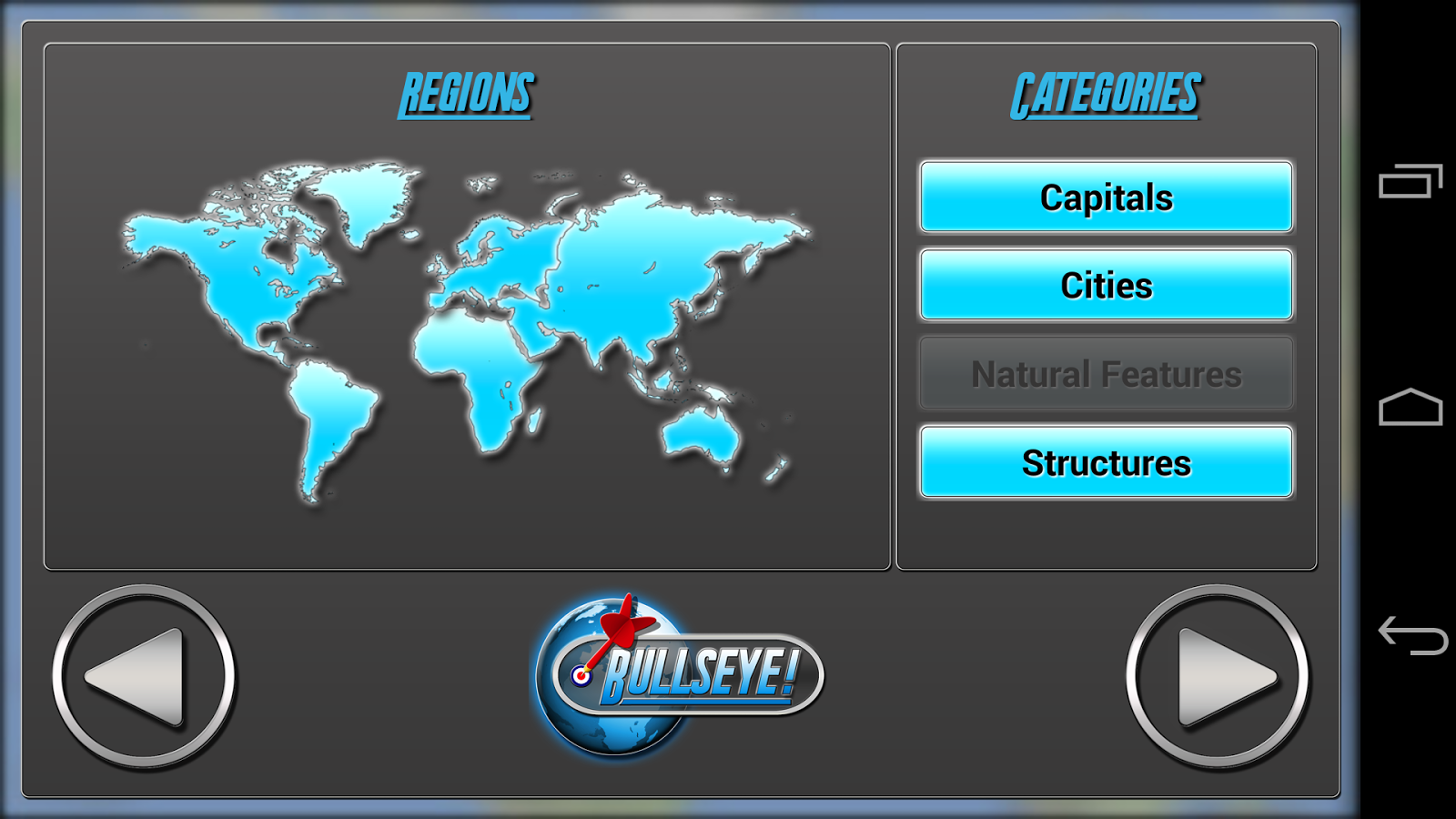 Bullseye! Geography Challenge- screenshot