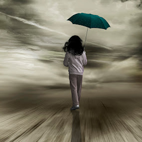 ... by Yolita Yo - Digital Art Places ( abstract, child, nowhere, walking, going home, fog, umbrella, dark, alone, kid )