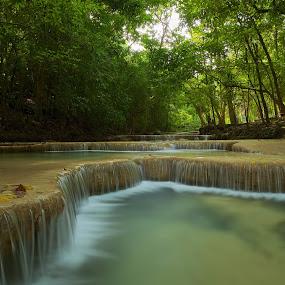 Erawan Level 1 by Christopher Harriot - Landscapes Waterscapes ( erawan, waterfalls, falls, thailand, kanchanaburi )
