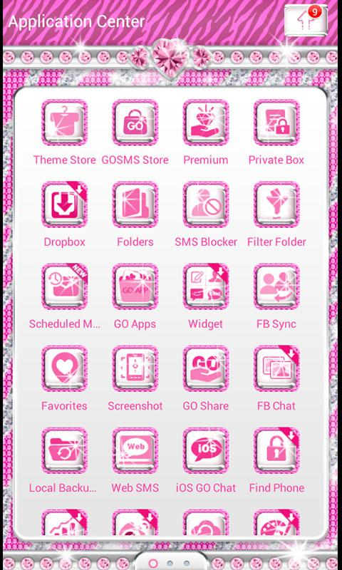 ♦ BLING Theme Pink Zebra SMS ♦ - screenshot