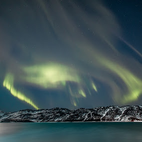The Phoenix by Sigurður Brynjarsson - Landscapes Starscapes ( water, cool, mountain, beautiful, aurora, star, lake, fire, northern, amazing, bird, iceland, kleifarvatn, sky, borealis, cold, ice, snow, night, phoenix, light )