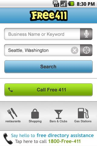FREE411 Yellow Pages Search - screenshot