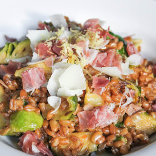 Farro Risotto with Prosciutto, Parmesan and Brussels Sprouts
