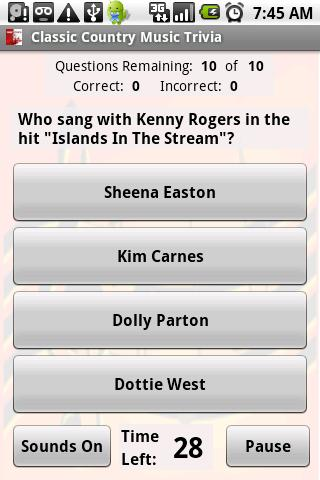 Classic Country Music Trivia - screenshot