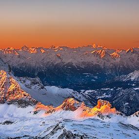 First ray by Ennio Pozzetti - Landscapes Mountains & Hills ( canon 6d, orange, mountains, testa grigia, italia, plateau rosa, snow, matterhorn, sunrise, light, italy, ennio pozzetti )