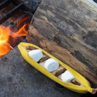 Campfire Banana Boat Chocolate Caramel S'mores.