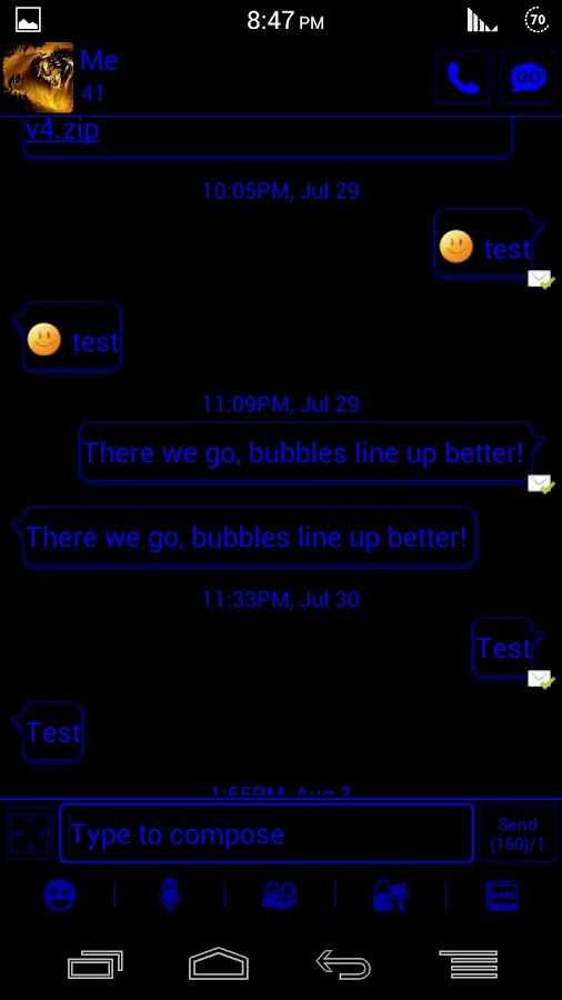 GO SMS Pro - GO Darkness Blue - screenshot