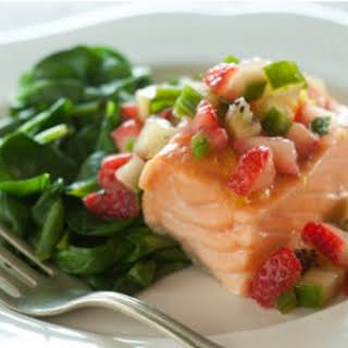 Baked Salmon with Spinach and Strawberry Salsa.