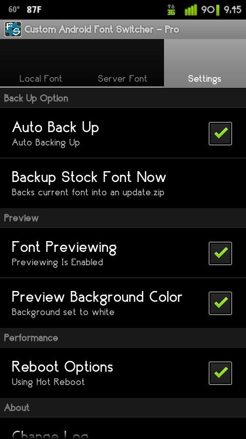 Custom Android Font Switcher - screenshot