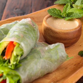 Vietnamese Spring Rolls with Orange Almond Sauce.