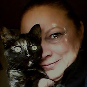 Selfie and baby Ghost by Sherri Perkins - People Portraits of Women ( selfie contest cat kitten portrait, Selfie, self shot, portrait, self portrait )