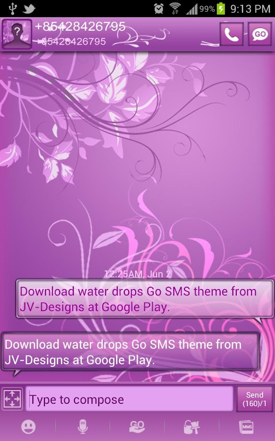 Pastel Purple Go SMS Pro Theme - screenshot
