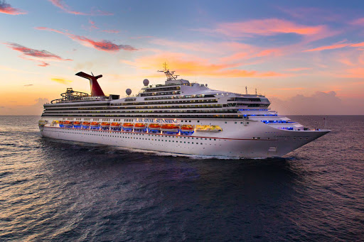 Carnival-Sunshine-Aerial-Sunset - Carnival Sunshine sails to the Caribbean, Bahamas and Bermuda.