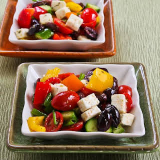 Chopped Greek-Style Salad with Red, Yellow, and Orange Bell Pepper.