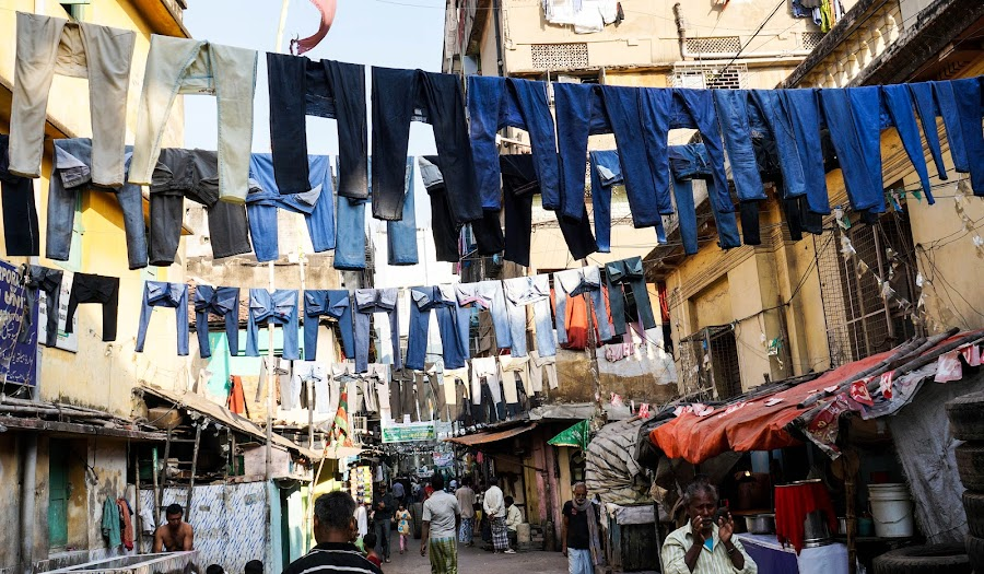 Drying out by Caesar Jees - City,  Street & Park  Street Scenes ( clothes, dryer, kolkata, street, people, laundry, alley, city,  )