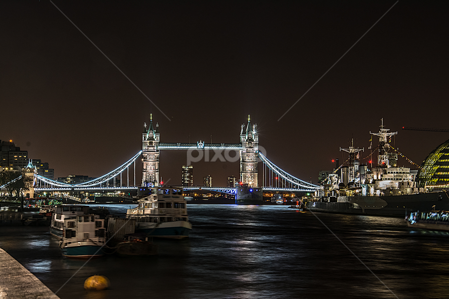Tower Bridge by Paul Telford - Buildings & Architecture Bridges & Suspended Structures ( water, tower, london, buildings, night, bridge,  )