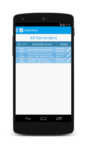 Call-a-Sure: Call Reminders
