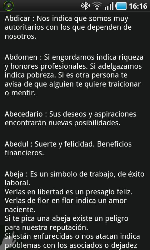 Diccionario de Sueños - screenshot