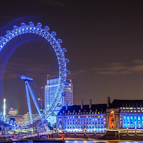 London Eye Blues by Andro Andrejevic - City,  Street & Park  Night ( london eye, night photography, london, millennium wheel, long exposure, cityscape, night shot, nightscape,  )