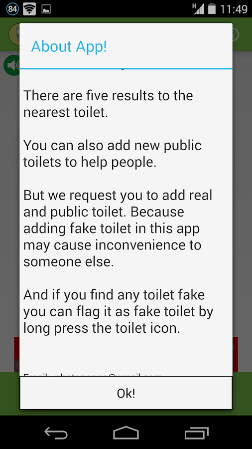 eZToilet-toilet finder- screenshot