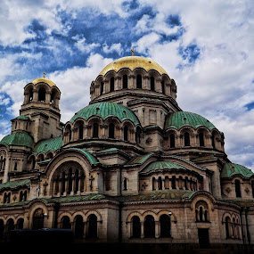 by Ines Raycheva - Buildings & Architecture Places of Worship ( clouds, alexander nevsky, st, gold, saint, sofia, bulgaria,  )