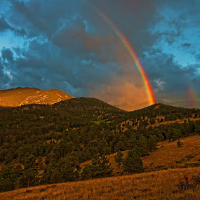 by Todd Yoder - Landscapes Mountains & Hills ( clouds, hills, mountains, morning, rainbow, sun )