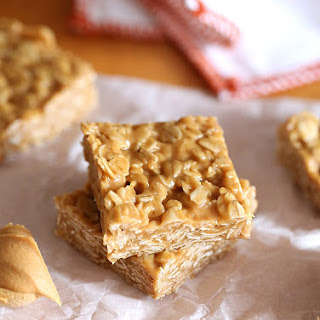 3 Ingredient No Bake Peanut Butter Oat Squares.