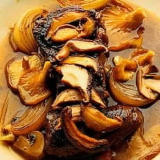 Braised Steak in Madeira with Five Kinds of Mushrooms.
