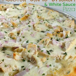 Roasted Garlic Chicken White Sauce Pizza.