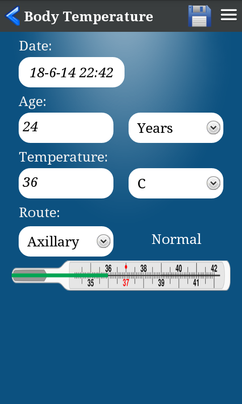Body Temperature- screenshot