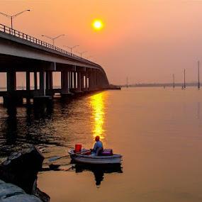 Little Boat by Rich Eginton - Landscapes Waterscapes ( lagoon, sunrise, bridge, fisherman, boat,  )