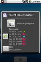 Screenshot of Recent Contacts Widget