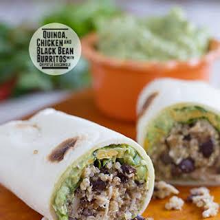 Quinoa Chicken and Black Bean Burritos with Chipotle Guacamole.