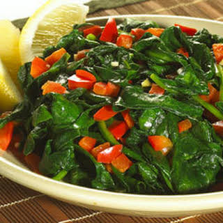 Sauteed Spinach With Red Bell Pepper.