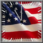 American Flag Clock Widget