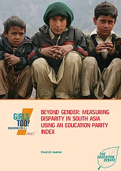 "Cover of ""Beyond gender: Measuring disparity in South Asia using an education parity index"" by Friedrich Huebler"