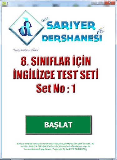 SARIYER INGİLİZCE TEST NO: 1