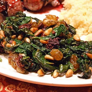 Spinach with Olives, Raisins and Pine Nuts Recipe