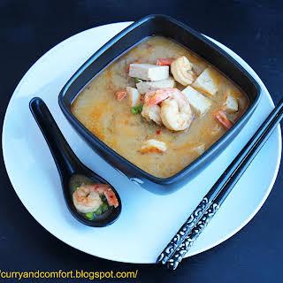 Thai Fusion Tofu and Shrimp Coconut Soup.