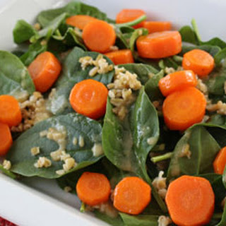 Carrot, Spinach and Freekeh Salad with a Miso Vinaigrette