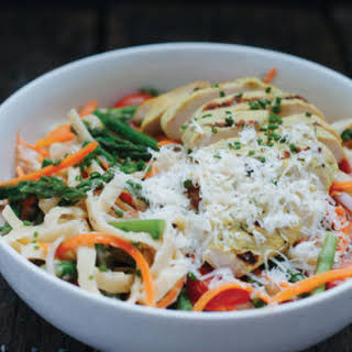 A Veggie-Full Fettuccine Alfredo with Grilled Chicken.