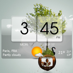Semi-transparent white glass skins for the 3D Flip Clock & World Weather widget APK Icon